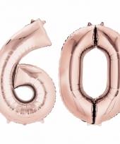 60 jaar geworden cijfer ballon rose goud