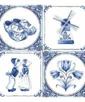 60x holland thema servetten met delfts blauwe opdruk