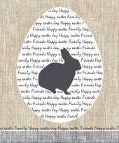 60x pasen servetten konijn rustiek grijs beige 33 x 33 cm