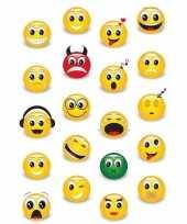 60x smiley emoticons stickers met 3d effect met zacht kunststof