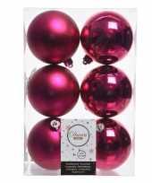 6x fuchsia roze kerstversiering kerstballen kunststof 8 cm