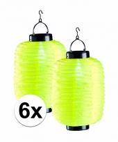 6x gele chinese lampionnen op zonne energie