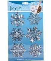6x kerst decoratie raamstickers zilveren sneeuwvlokken