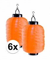 6x oranje chinese lampionnen op zonne energie
