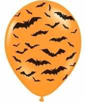 6x oranje zwarte halloween ballonnen 30 cm met vleermuizen print
