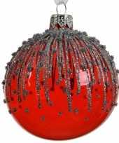 6x rode kerstversiering transparante kerstballen van glas 8 cm