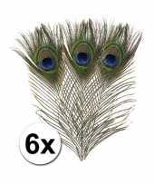 6x zakje met 6 pauwen veren