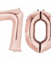 70 jaar geworden cijfer ballon rose goud