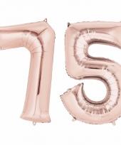 75 jaar geworden cijfer ballon rose goud
