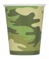 8 kartonnen bekers camouflage kleur