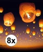 8 x wens en geluksballon wit 50 x 100 cm