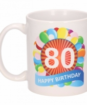 80 jaar cadeau beker 300 ml ballon thema