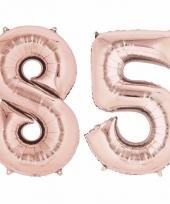 85 jaar geworden cijfer ballon rose goud