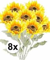 8x gele zonnebloem kunstbloemen 82 cm