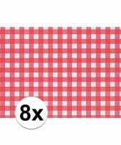 8x placemat rood wit geblokt 43 x 30 cm