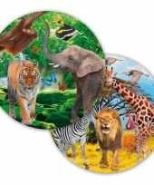 8x safari jungle themafeest bordjes 23 cm