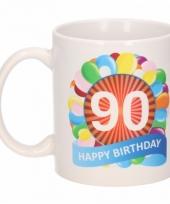 90 jaar cadeau beker 300 ml ballon thema