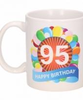 95 jaar cadeau beker 300 ml ballon thema