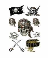 9x piraten thema stickers met glitters