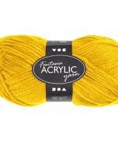 Acryl haak garen geel 80 meter