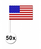 Amerika zwaai vlaggetjes 50 stuks