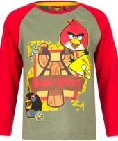 Angry birds t-shirt groen rood voor jongens