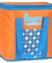 Aqua summer koeltas met stippen oranje 34 cm