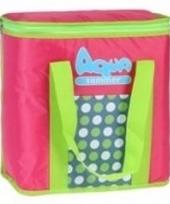 Aqua summer koeltas met stippen roze 34 cm