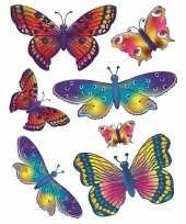 Autoraam stickers kleurige vlinders 2x stuks vellen
