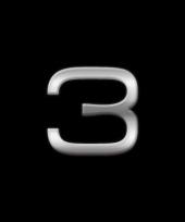 Autostickers cijfer 3 chrome kleur
