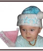 Baby mutsjes kerst in roze of blauw