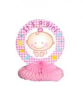 Baby roze tafeldecoratie