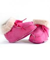 Baby sloffen roze lamsleer