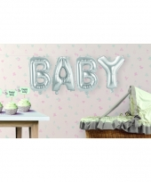 Babyshower opblaasletters baby zilver