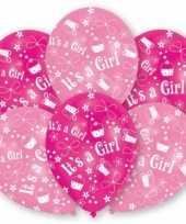 Babyshower roze ballonnen 6 stuks