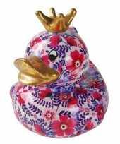 Badeend spaarpot roze paarse bloemenprint