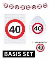 Basic set met 40 jaar stopbord versiering