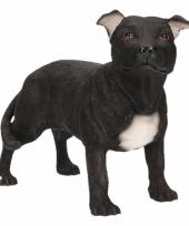 Beeldje staff bull terrier zwart 15 cm