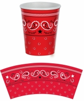 Bekers met rode boerenzakdoek print 8 stuks