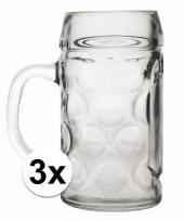Bier glazen 1 liter 3 stuks