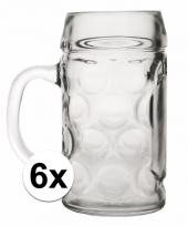 Bier glazen 1 liter 6 stuks