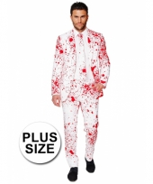 Big size business suit dokter met bloedspatten print