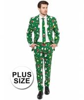 Big sized groene business suit met kerst print