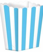 Bioscoop popcorn bakjes lichtblauw 5 stuks