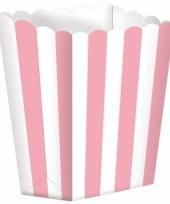 Bioscoop popcorn bakjes lichtroze 5 stuks