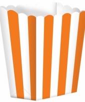 Bioscoop popcorn bakjes oranje 5 stuks