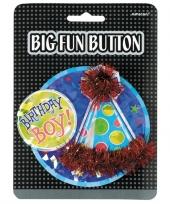 Birthday boy button met feesthoedje