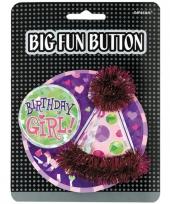 Birthday girl button met feesthoedje
