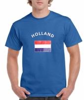 Blauw body fit-shirt met holland vlag