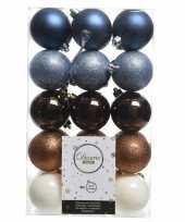 Blauw bruin witte kerstversiering kerstballenset kunststof 6 cm